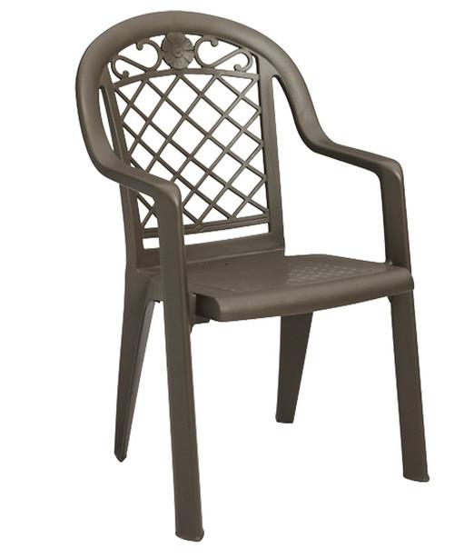 Grosfillex - Savannah Highback Bronze Mist Stacking Dining Armchair