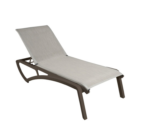 Grosfillex - Sunset Beige/ Fusion Bronze Outdoor Stackable Chaise Lounge