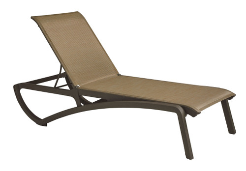 Grosfillex - Sunset Cognac/ Fusion Bronze Outdoor Stackable Chaise Lounge