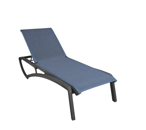 Grosfillex - Sunset Madra Blue/ Volcanic Black Outdoor Stackable Chaise Lounge