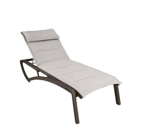 Grosfillex - Sunset Comfort Beige/ Fusion Bronze Outdoor Stackable Chaise Lounge