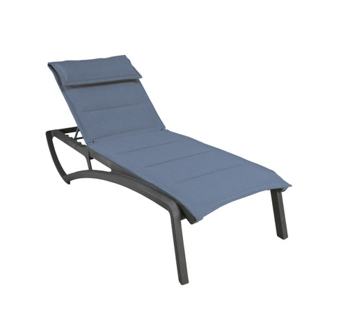 Grosfillex - Sunset Comfort Madras Blue/ Volcanic Black Outdoor Stackable Chaise Lounge