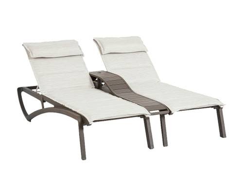 Grosfillex - Sunset Comfort Beige/ Fusion Bronze Outdoor Stackable Duo Chaise Lounge