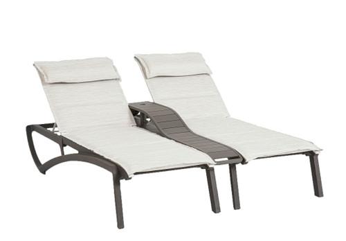 Grosfillex - Sunset Comfort Beige/ Volcanic BlackOutdoor Stackable Duo Chaise Lounge