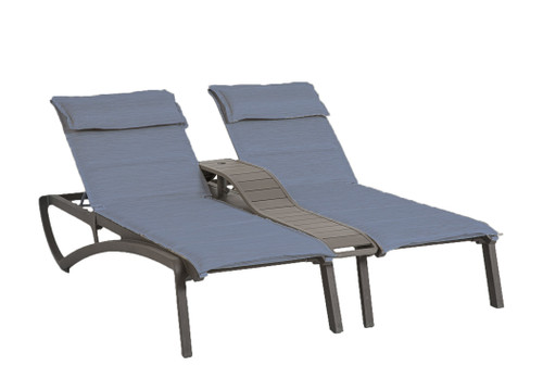 Grosfillex - Sunset Comfort Madras Blue/ Volcanic Black Outdoor Stackable Duo Chaise Lounge