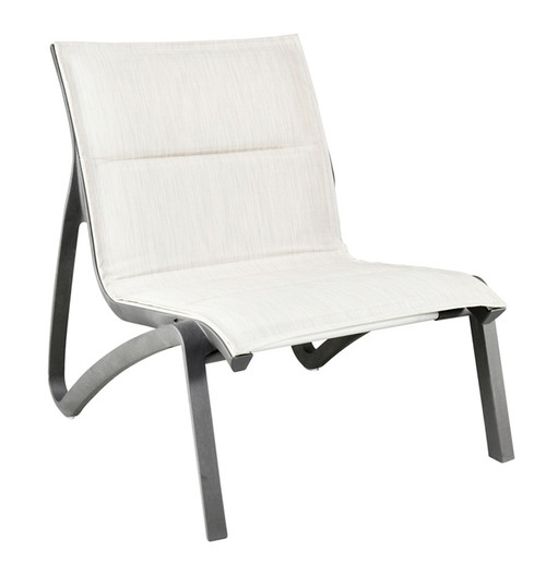 Grosfillex - Sunset Comfort Beige/ Volcanic Black Outdoor Stackable Lounge Chair