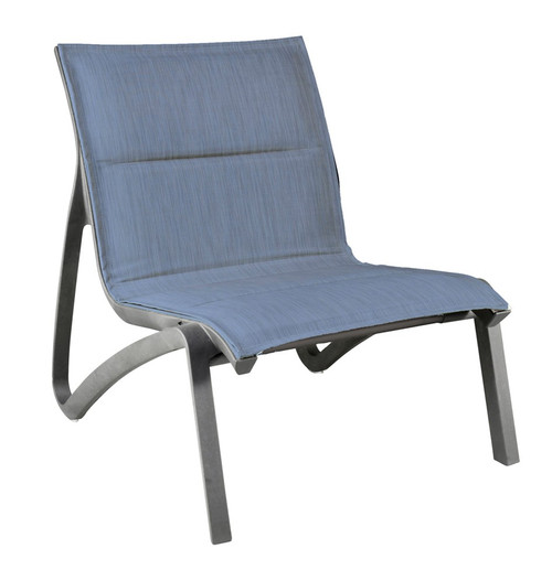 Grosfillex - Sunset Comfort Madras Blue/ Volcanic Black Outdoor Stackable Lounge Chair