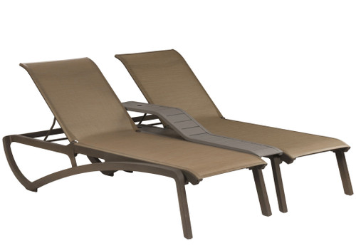 Grosfillex - Sunset Cognac/ Fusion Bronze Outdoor Stackable Duo Chaise Lounge
