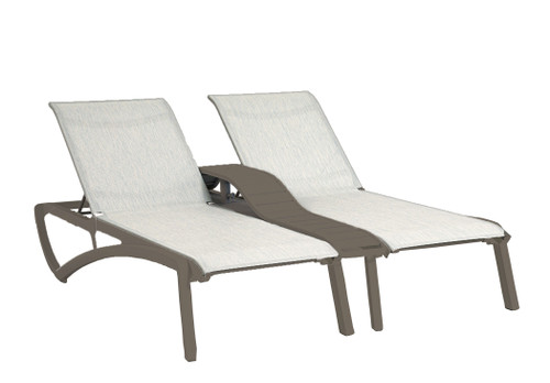 Grosfillex - Sunset Beige/ Fusion Bronze Outdoor Stackable Duo Chaise Lounge