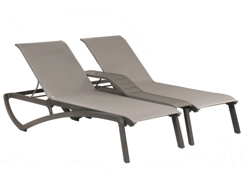 Grosfillex - Sunset Gray/ Platinum Gray Outdoor Stackable Duo Chaise Lounge