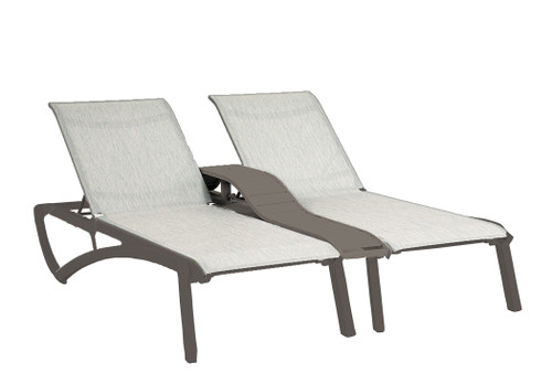 Grosfillex - Sunset Beige/ Volcanic Black Outdoor Stackable Duo Chaise Lounge