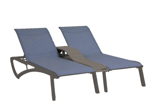 Grosfillex - Sunset Madras Blue/ Volcanic Black Outdoor Stackable Duo Chaise Lounge