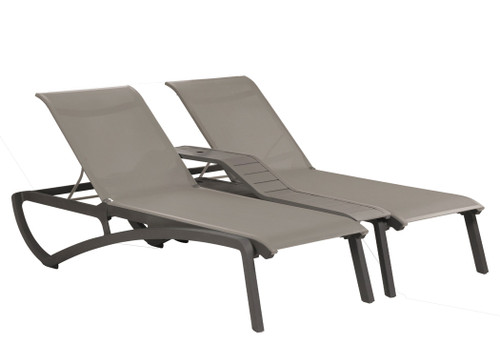 Grosfillex - Sunset Gray/ Volcanic Black Outdoor Stackable Duo Chaise Lounge