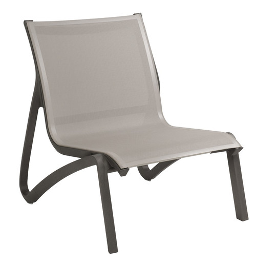 Grosfillex - Sunset Gray/ Volcanic Black Outdoor Stackable Lounge Chair