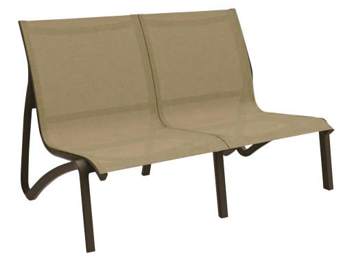 Grosfillex - Sunset Cognac/ Fusion Bronze Outdoor Stackable Love Seat