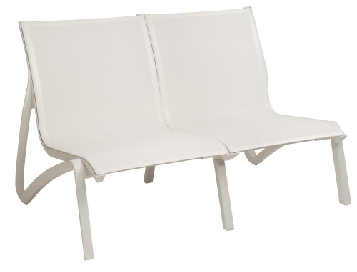 Grosfillex - Sunset White/ Glacier White Outdoor Stackable Love Seat