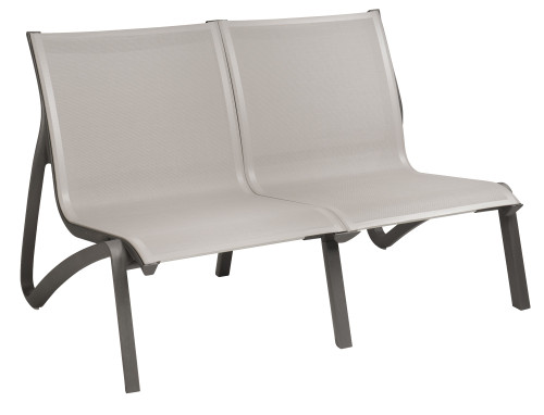 Grosfillex - Sunset Gray/ Volcanic Black  Outdoor Stackable Love Seat