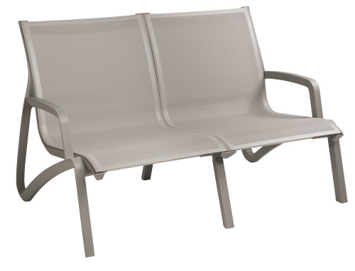 Grosfillex - Sunset Gray/ Platinum Gray Outdoor Stackable Love Seat