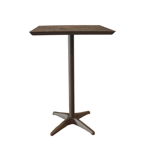 """Grosfillex - Sunset 28"""" x 28"""" Lava/ Fusion Bronze Outdoor Square Bar Table"""