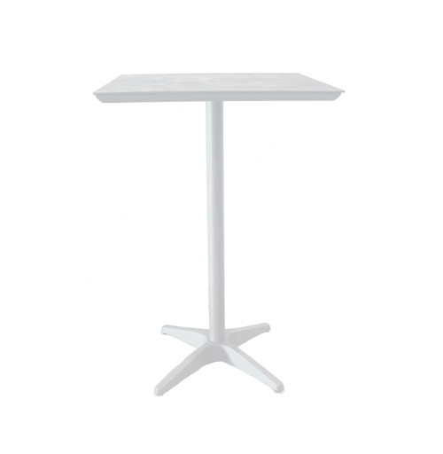 "Grosfillex - Sunset 28"" x 28"" White/ Glacier White Bronze Outdoor Square Bar Table"
