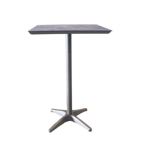 "Grosfillex - Sunset 28"" x 28"" Granite/ Platinum Gray Outdoor Square Bar Table"