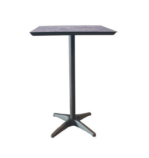 "Grosfillex - Sunset 28"" x 28"" Granite/ Volcanic Black Outdoor Square Bar Table"