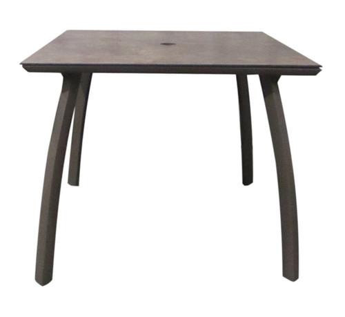 "Grosfillex - Sunset 36"" x 36"" Lava/ Fusion Bronze Outdoor Square Table w/ Umbrella Hole"