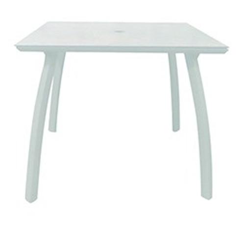 """Grosfillex - Sunset 36"""" x 36"""" White/ Glacier White Outdoor Square Table w/ Umbrella Hole"""