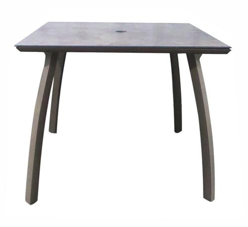 "Grosfillex - Sunset 36"" x 36"" Granite/ Volcanic Black Outdoor Square Table w/ Umbrella Hole"