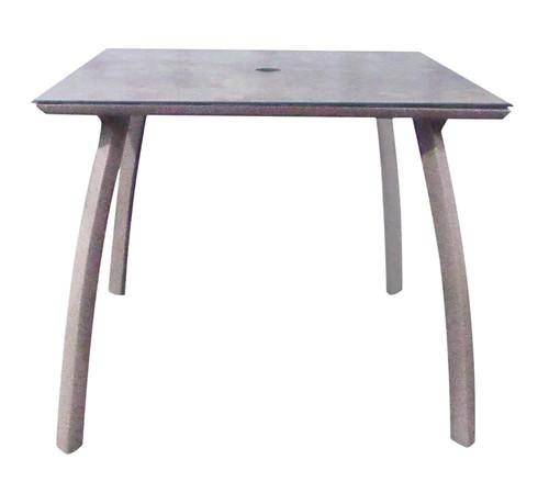 """Grosfillex - Sunset 36"""" x 36"""" Granite/ Platinum Gray Outdoor Square Table w/ Umbrella Hole"""