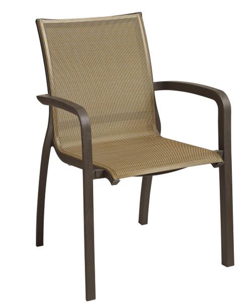 Grosfillex - Sunset Cognac/ Fusion Bronze Bronze Outdoor Stacking Armchair