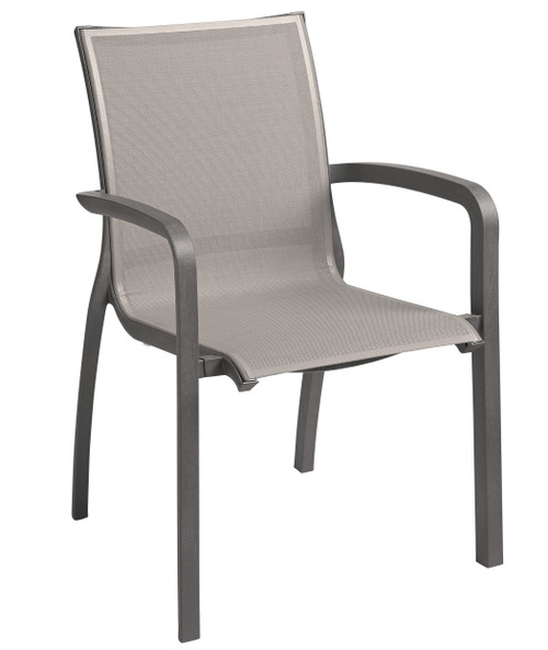 Grosfillex - Sunset Gray/ Volcanic Black Outdoor Stacking Armchair