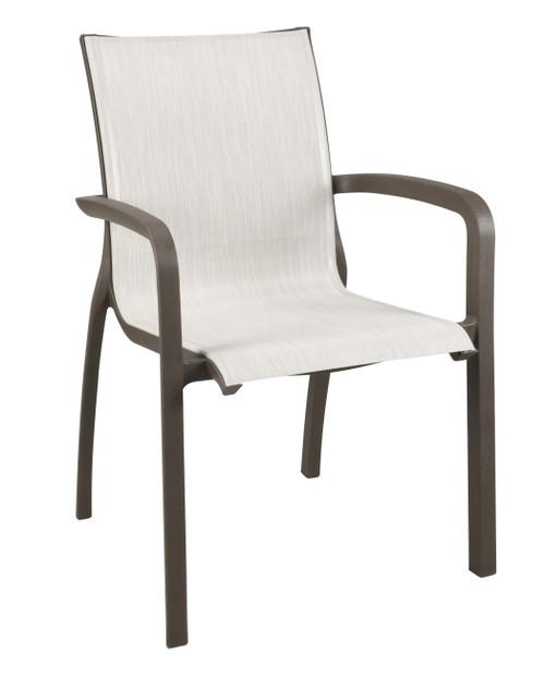 Grosfillex - Sunset Beige/ Fusion Bronze Outdoor Stacking Armchair