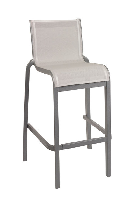 Grosfillex - Sunset Gray/ Platinum Gray Outdoor Stacking Armless Barstool
