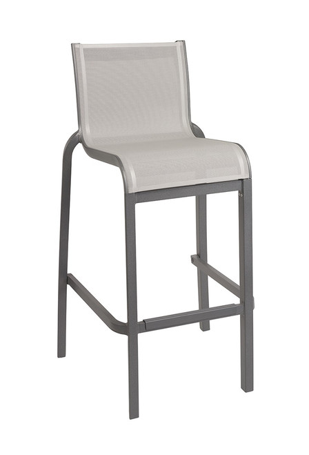 Grosfillex - Sunset Gray/ Volcanic Black Outdoor Stacking Armless Barstool
