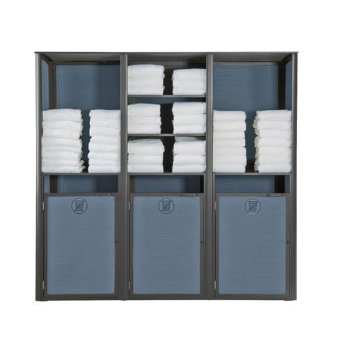 Grosfillex - Sunset Madras Blue/ Volcanic Black Triple Towel Valet