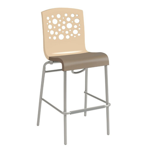 Grosfillex - Tempo Beige Back/Taupe Seat Stacking Barstool