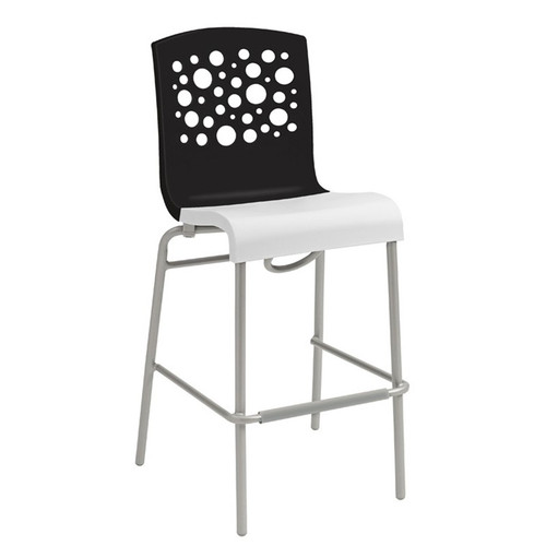 Grosfillex - Tempo Black Back/ White Seat Stacking Barstool