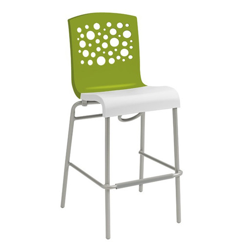 Grosfillex - Tempo Green Back/ White Seat Stacking Barstool