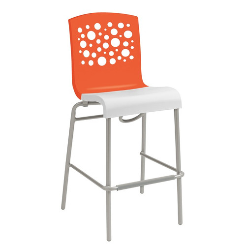 Grosfillex - Tempo Orange Back/ White Seat Stacking Barstool