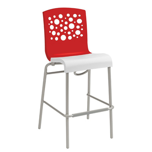 Grosfillex - Tempo Red Back/ White Seat Stacking Barstool