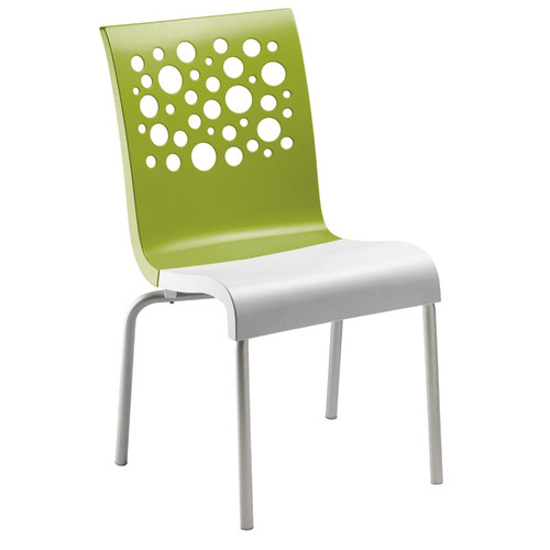 Grosfillex - Tempo Green Back/ White Seat Stacking Armchair