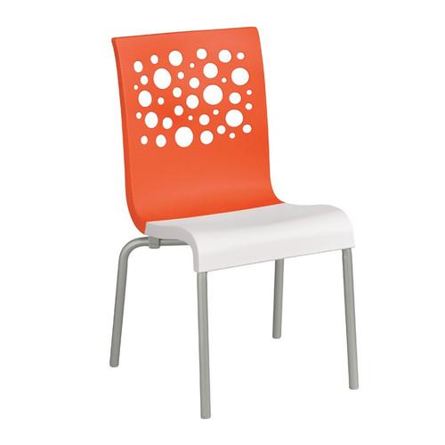 Grosfillex - Tempo Orange Back/ White Seat Stacking Armchair