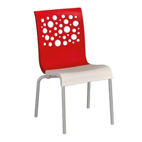 Grosfillex - Tempo Red Back/ White Seat Stacking Armchair