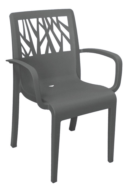 Grosfillex - Vegetal Charcoal Outdoor Stacking Armchair