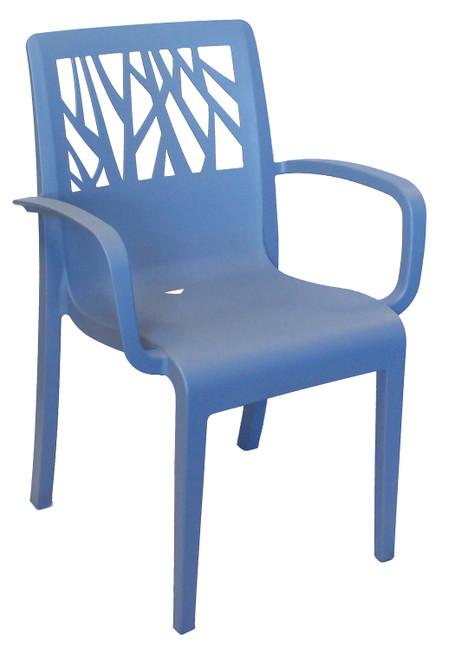 Grosfillex - Vegetal Denim Blue Outdoor Stacking Armchair