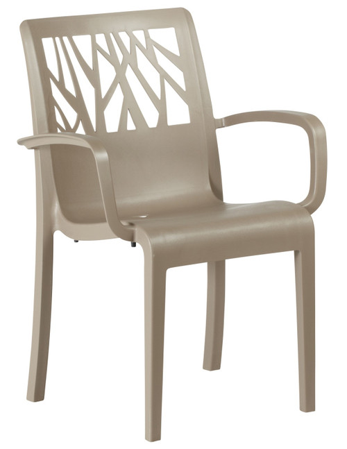 Grosfillex - Vegetal Taupe Outdoor Stacking Armchair