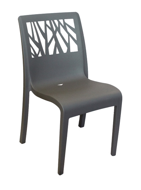 Grosfillex - Vegetal Charcoal Outdoor Stacking Sidechair