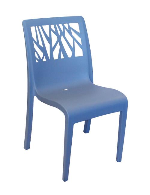 Grosfillex - Vegetal Denim Blue Outdoor Stacking Sidechair