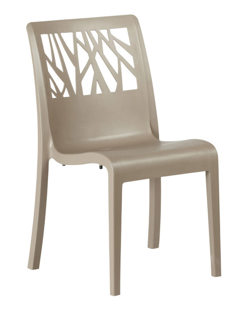 Grosfillex - Vegetal Taupe Outdoor Stacking Sidechair